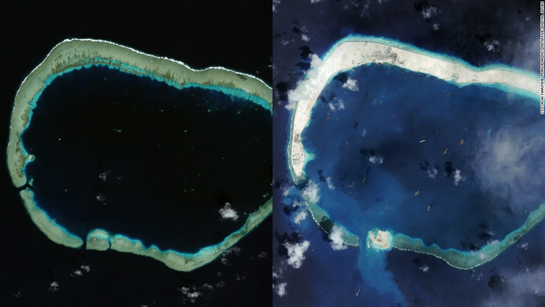 Mischief Reef in the South China Sea in January 2012, left, and in September 2015, right. China appears to building a third airstrip on this reef, according to new satellite images analyzed by the Washington-based Center for Strategic and International Studies (CSIS). All images used with courtesy of CSIS/Asia Maritime Transparency Initiative