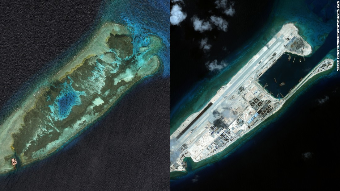 "Fiery Cross Reef in the South China Sea pictured in January 2006, left, and in September 2015, right. The airstrip on Fiery Cross Reef is almost operational, Greg Poling, the director of the <a href=""http://amti.csis.org/"" target=""_blank"">Asia Maritime Transparency Initiative</a>, says."