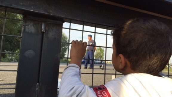A migrant child in Serbia gazes through the gate to Hungary.