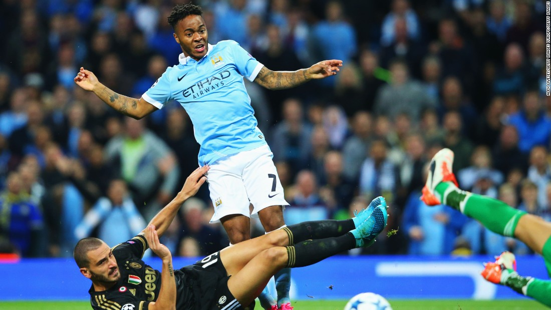 Raheem Sterling of Manchester City is challenged by Leonardo Bonucci of Juventus during the UEFA Champions League Group D match between Manchester City FC and Juventus at the Etihad Stadium on Tuesday.