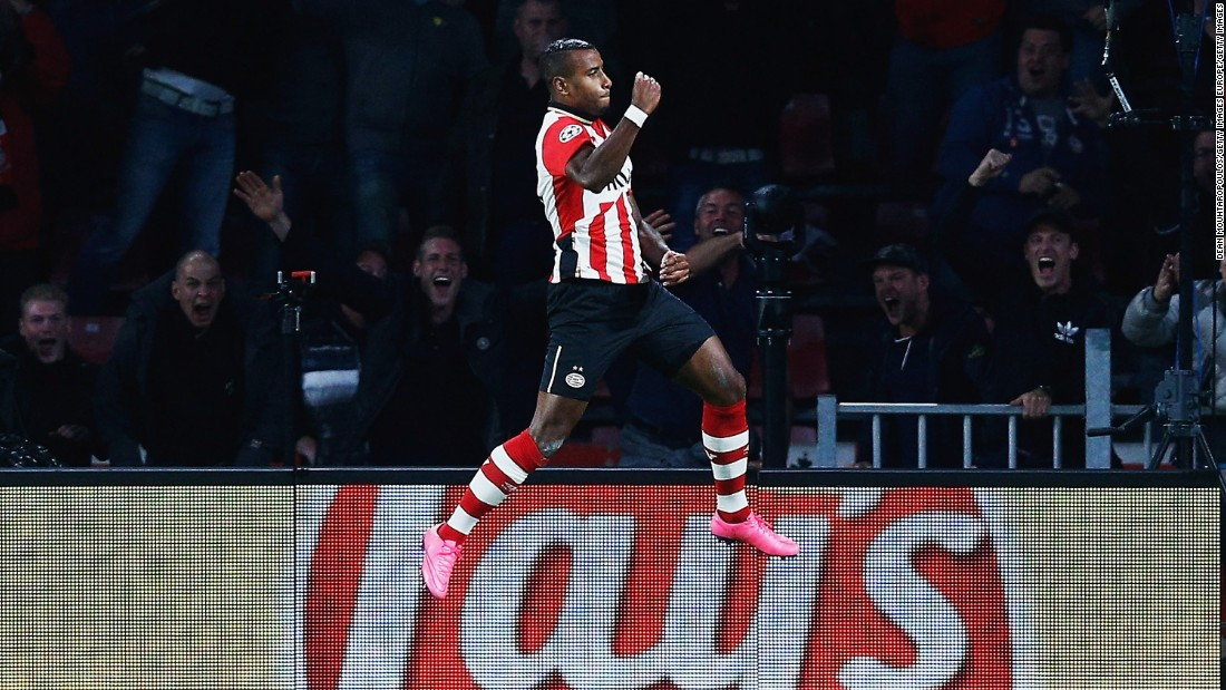 Luciano Narsingh of PSV Eindhoven celebrates scoring his team's second goal during the UEFA Champions League Group B match between PSV Eindhoven and Manchester United at PSV Stadion on September 15, 2015 in Eindhoven, Netherlands.