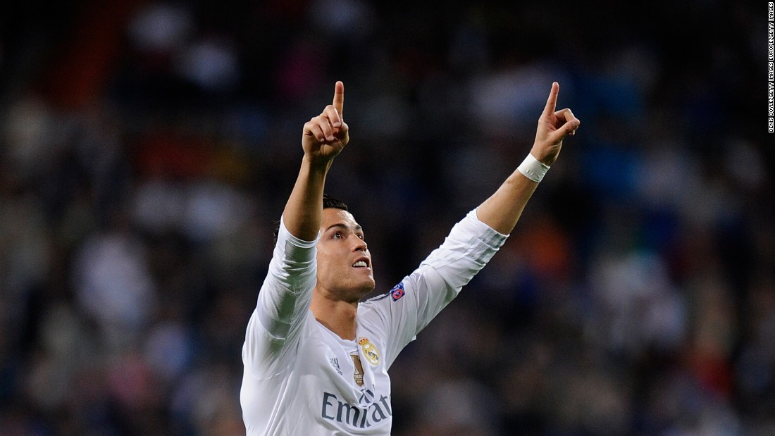 Cristiano Ronaldo of Real Madrid celebrates after scoring Real's third goal from the penalty spot during the Champions League Group A match between Real Madrid and Shakhtar Donetsk, which gave him 80 career goals in the competition.