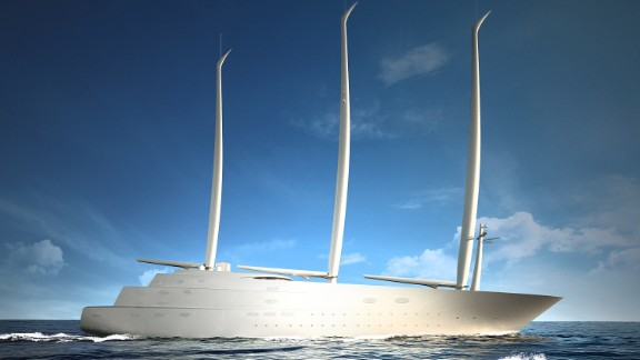 """An image of what the $450 million superyacht """"A"""" will look like when building is complete. The 143-meter vessel will boast cutting edge technology and a 54-strong crew to look after those on board."""
