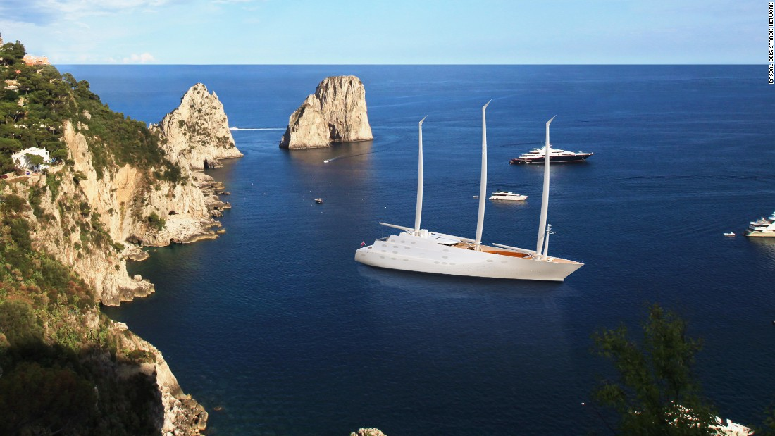 The brainchild of Russian billionaire Andrey Milnichenko, who is worth an estimated $9 billion, it was designed by Frenchman Philippe Starck and has a glass observation pod at the base of the vessel.