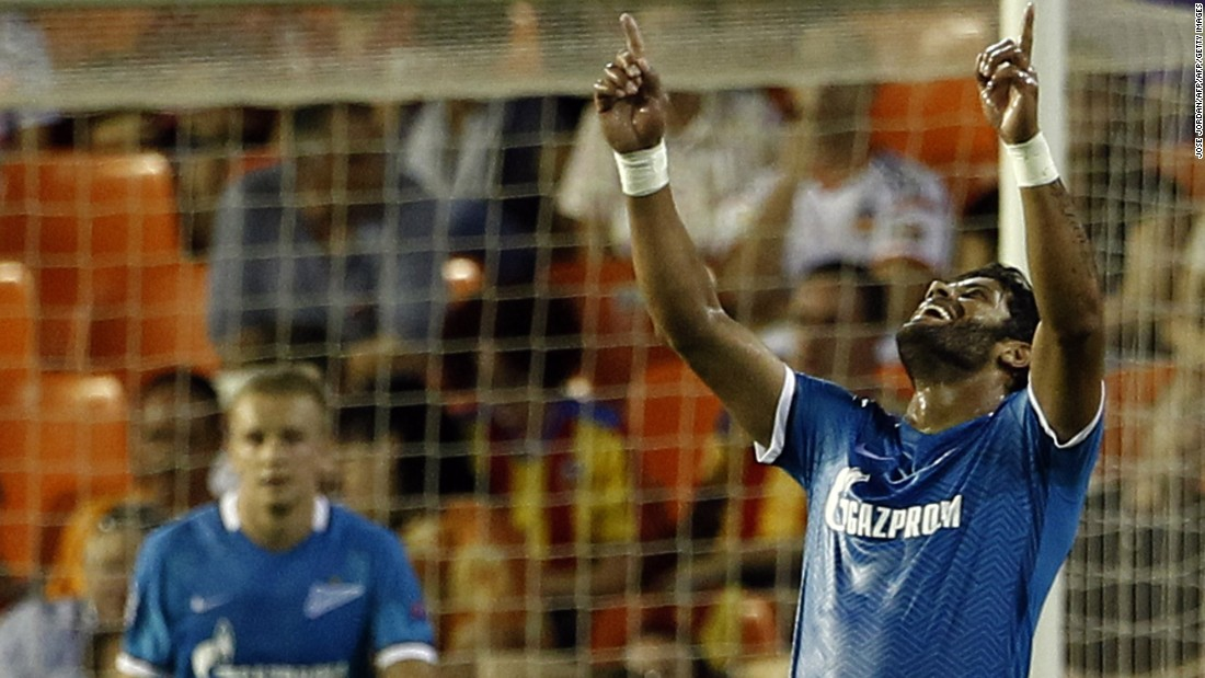 Zenit St Petersburg's Brazilian forward Hulk celebrates one of his two goals in the Group H game at Valencia.