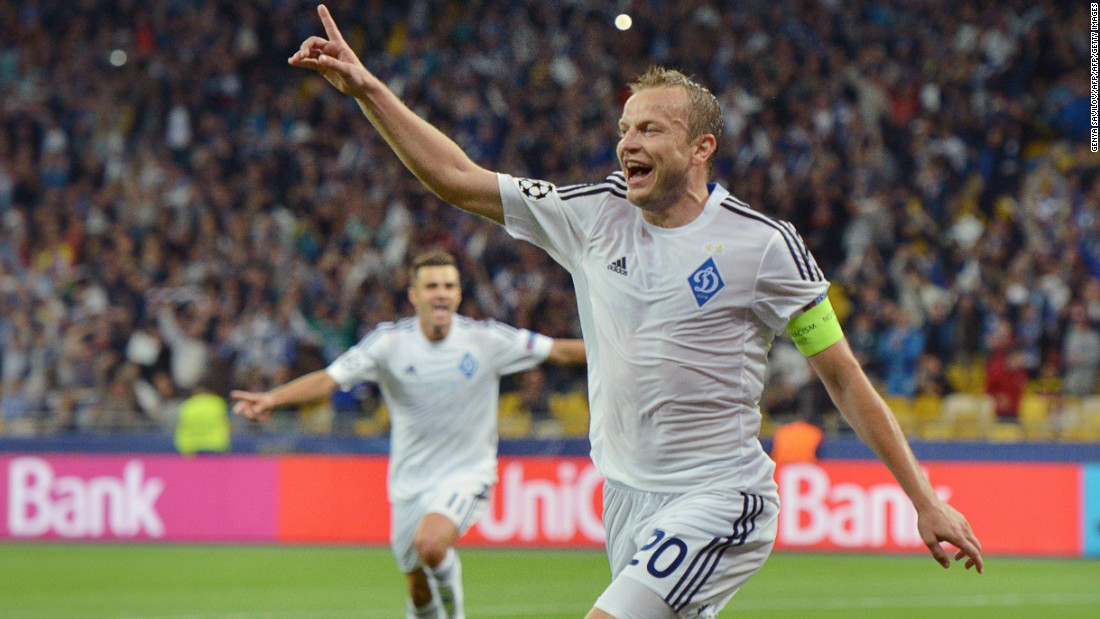 Oleh Husev of Dynamo Kiev enjoys the moment after scoring during against Porto at the Olimpiysky stadium.