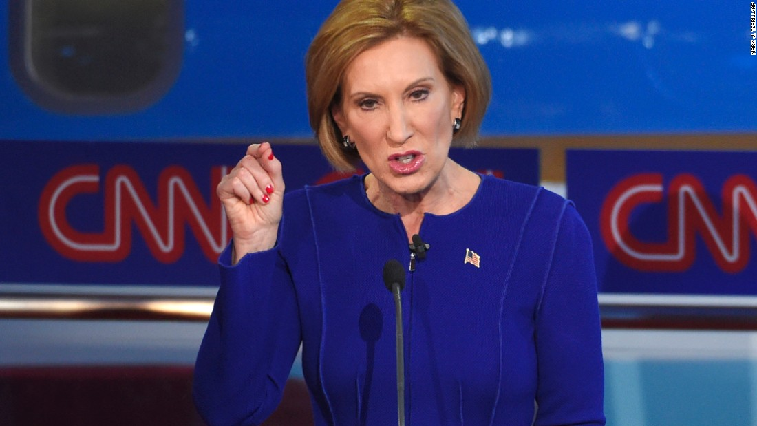 Fiorina was appearing in the main GOP debate for the first time. Last month she was in the second-tier debate with the lowest-polling candidates.