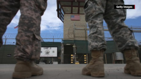 U.S. troops outside Guantanamo Bay detention camp.