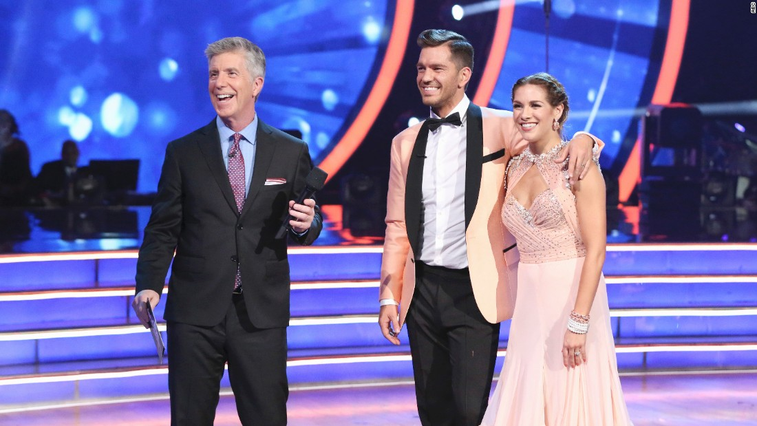 Singer Andy Grammer, center, and pro partner Allison Holker are shown with Bergeron. He was eliminated in week eight.