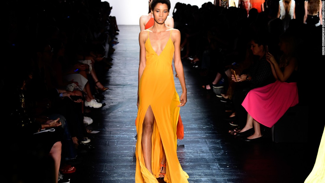 Prabal Gurung had a chorus of Buddhist monks chant prayers for the lives lost in Nepal's recent earthquake before his show. These rich colors featured heavily in the collection too.