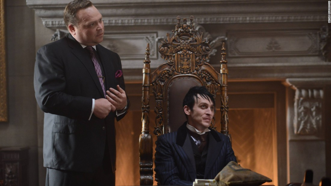 "<strong>""Gotham"" Season 2</strong>: Butch Gilzean (Drew Powell) and Penguin (Robin Lord Taylor) keep things hopping in this popular series which is a prequel to the Batman series. <strong>(Netflix)</strong>"