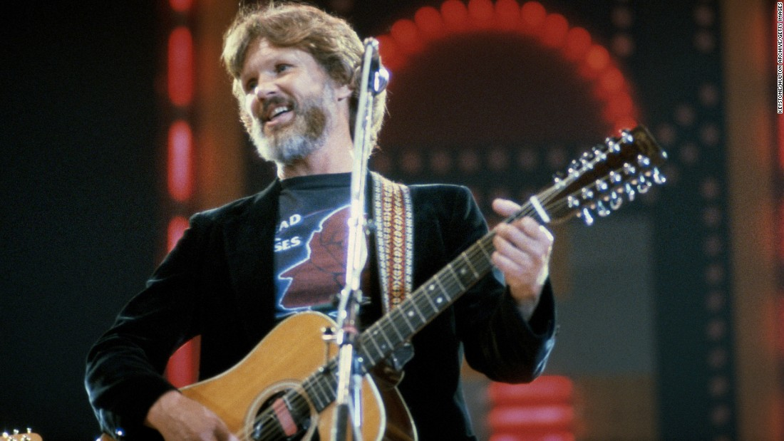 Another of the Highwaymen -- along with Nelson, Cash and Waylon Jennings -- Kristofferson rejoined his friends for more albums in the '90s. He is seen here performing at London's Wembley Arena in 1982.