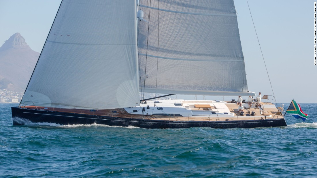 "This sleek racer-cruiser yacht, called ""Lady G,"" is just under 30 meters long, and was built by the South African-based <a href=""http://www.monacoyachtshow.com/fr/company/742/SOUTHERN_WIND_SHIPYARDS.html"" target=""_blank"">Southern Wind</a> shipyard."
