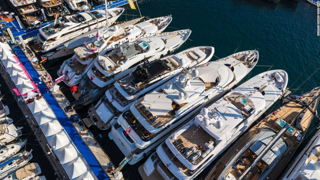 "Here, a drone offers a bird's-eye view of the luxurious superyachts which this year have an <a href=""http://www.monacoyachtshow.com/en/media/key-data-of-yachts.html"" target=""_blank"">average price of €25 million </a>($28 million)."