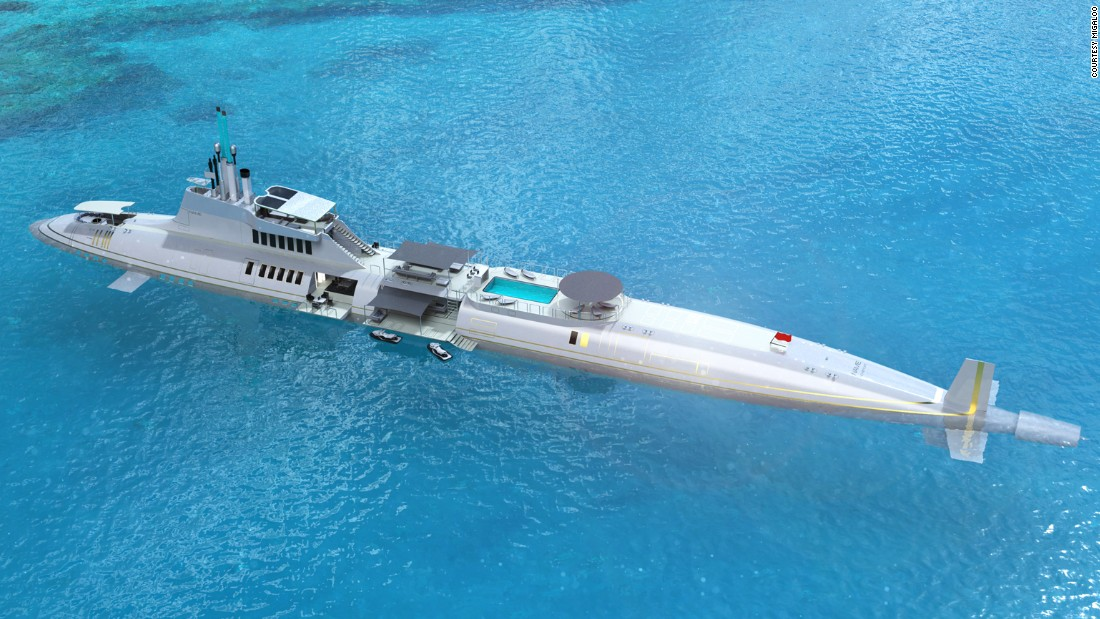 "And what floating island is complete without an extravagant underwater toy to accompany it?<br />The company's submersible yacht concept (pictured) comes in a range of sizes, from 72 meters, up to 283 meters. Gumpold explains that the floating yacht would act as a ""mothership,"" from which this sleek underwater vessels zips you across the ocean. <br />"
