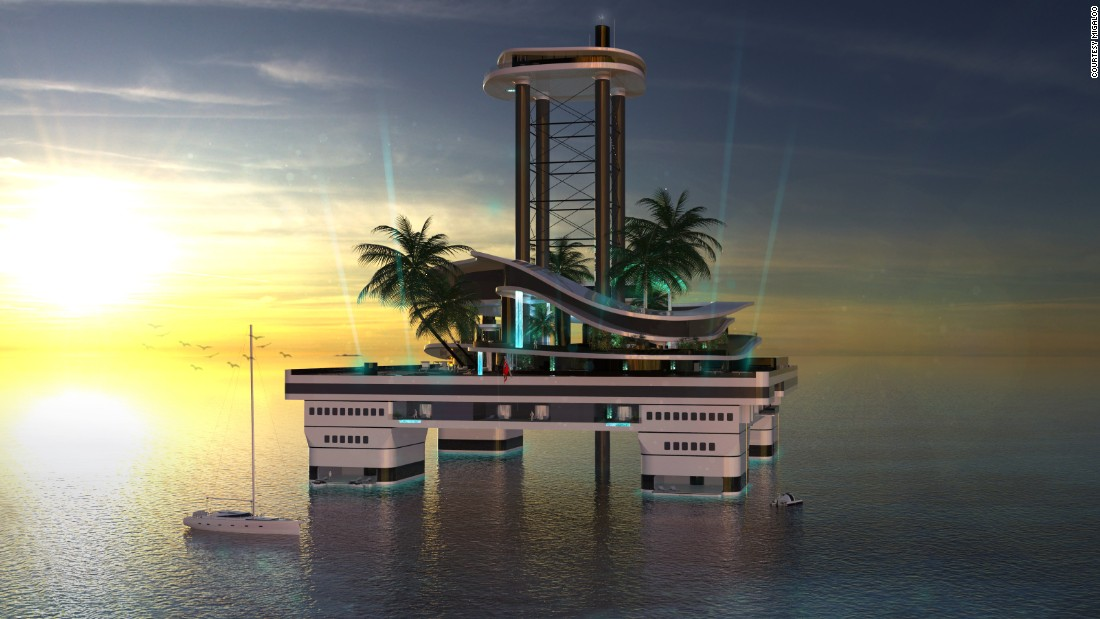 "To the untrained eye the vessel might bear a passing resemblance to an upmarket oil rig -- albeit one that is a lot more luxurious.<br />The futuristic floating island features a penthouse perched 80 meters above sea level, two elevators, and a jacuzzi with a glass bottom.<br />Should you wish to move the hefty vessel, expect to take your time, with speeds of eight knots.<br />""It is more or less a piece of floating land,"" explained Gumpold. ""It can be supported by custom-designed support vessels, as is a trend in the yachting industry right now.<br />""So it is like a offshore main basis or hide away, and from there you are free to go anywhere."""