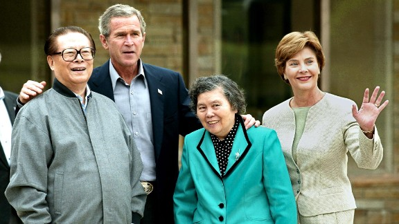 """President George W. Bush and First Lady Laura Bush host former Chinese President Jiang Zemin and his wife, Wang Yeping, at Prairie Chapel Ranch in Crawford, Texas, on October 25, 2002. The meeting at Bush's 1,600-acre retreat, once known as the Western White House, was """"an opportunity for the president to work with the Chinese leader on a number of areas of mutual concern and to make progress in resolving outstanding differences,"""" said Press Secretary Ari Fleischer in a written statement."""
