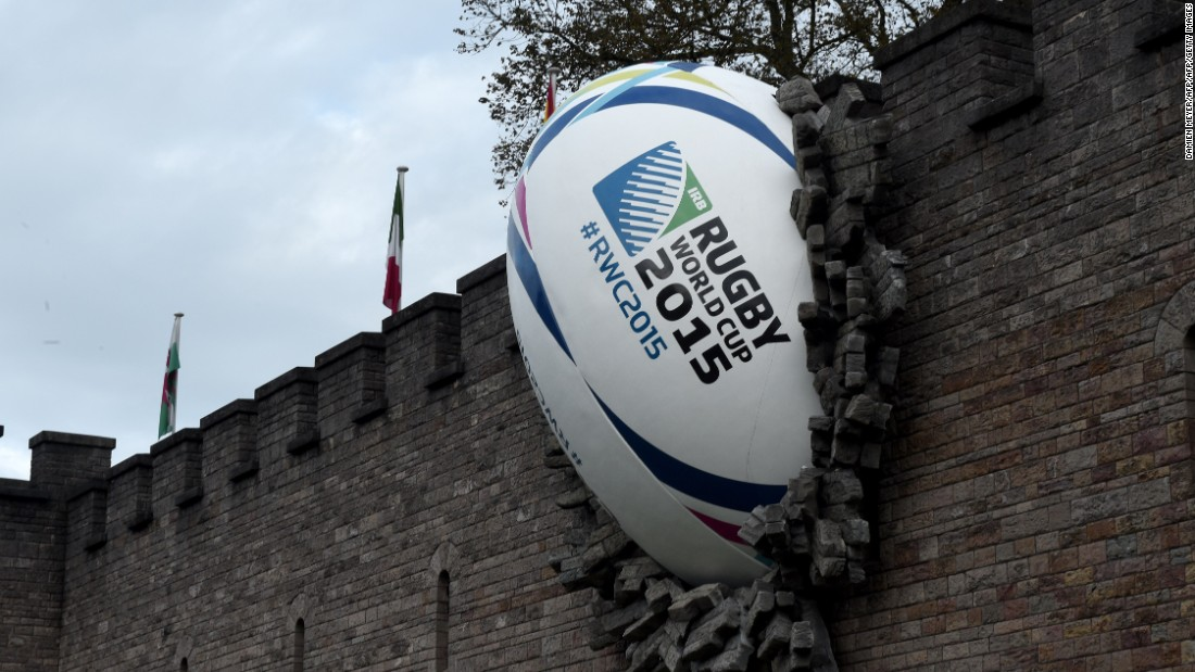 Rugby fever has taken over Cardiff with the city's castle housing this large ball.