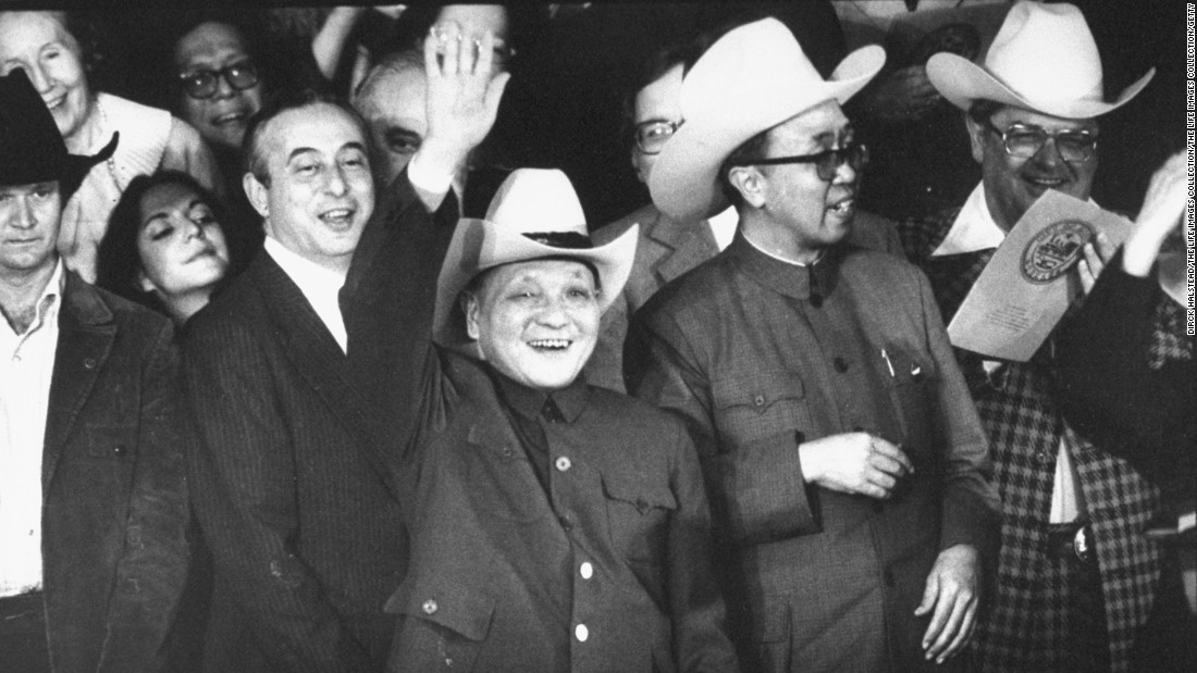 China's paramount leader Deng Xiaoping dons a cowboy hat while attending a Texas rodeo in 1979, the year China and the United States formally established diplomatic relations.<br />
