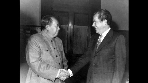 Mao Zedong, Chairman of the Communist Party, meets U.S. President Richard Nixon in Beijing on February 21,1972. Nixon's 1972 trip to the People's Republic of China was a groundbreaking step towards normalizing Sino-U.S. relations and shifting the balance of power in the Cold War. Nixon was the first U.S. president to set foot on Chinese soil.