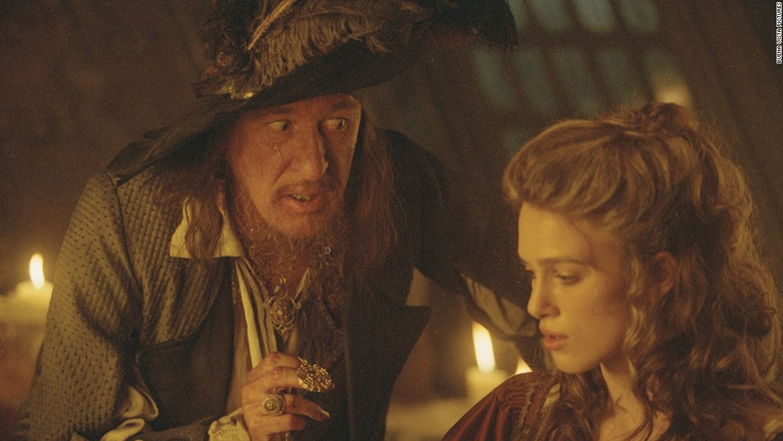 "Actor Geoffrey Rush plays Sparrow's rival Captain Hector Barbossa in ""Pirates of the Caribbean."" Once a ferocious pirate and deadly enemy of Sparrow, Barbossa enters an uneasy alliance with his rival."