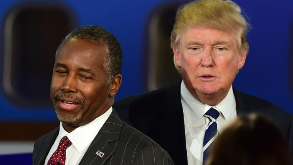 Republican presidential hopefuls  Ben Carson and Donald Trump   participate in the Republican Presidential Debate at the Ronald Reagan Presidential Library in Simi Valley, California on September 16, 2015.