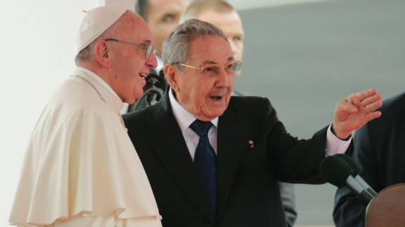 Pope Francis speaks with Cuba