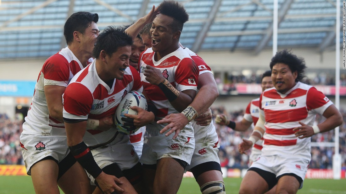 Japan players celebrate the try by fullback Ayumu Goromaru, who scored 24 points in the Pool B clash.