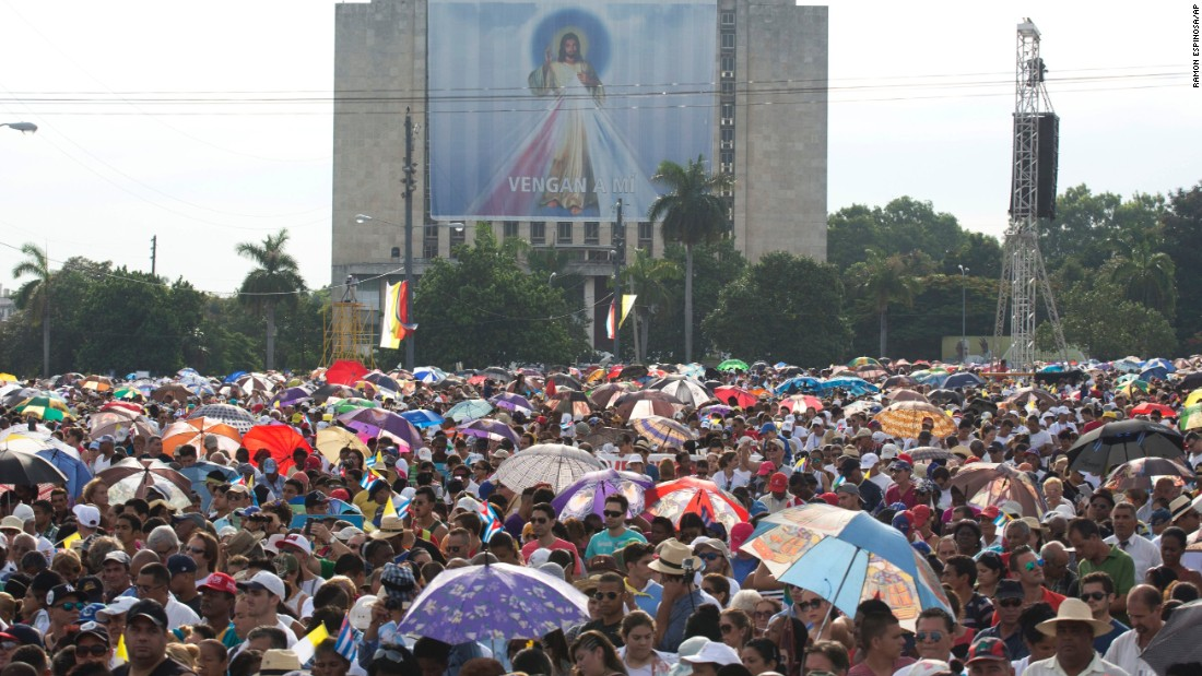 An enormous crowd fills Havana's Revolution Square for the Pope's Mass on September 20.