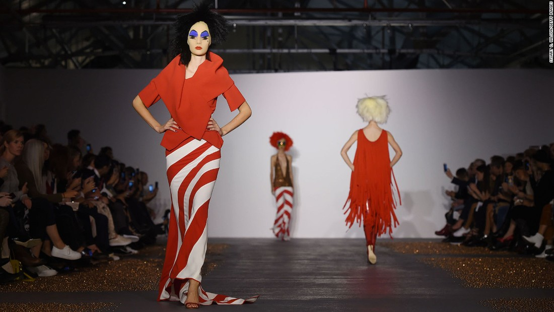 "At Gareth Pugh, models faces were covered in gauze, which was then painted with makeup. The final effect was somewhere between a clown and drag star <a href=""http://divineofficial.com/"" target=""_blank"">Divine</a>."