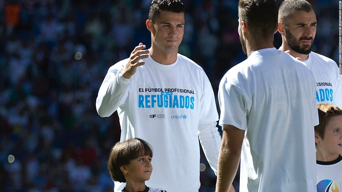 <strong>September 19, 2015: </strong>Cristiano Ronaldo may not have scored, but he did walk out at the Bernabeu with the son of the Syrian refugee tripped by a Hungarian journalist. Osama Alabed Al-Mohsen and his 7-year-old son Zied were guests of honor for Real Madrid's 1-0 win over Granada.