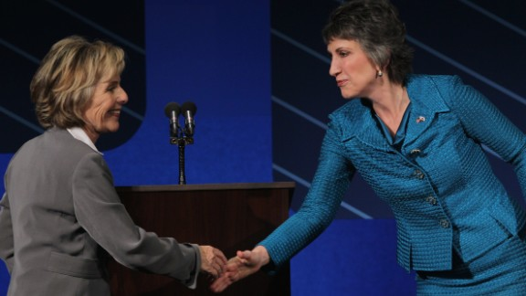 U.S. Sen. Barbara Boxer shakes hands with republican candidate for U.S. Senate Carly Fiorina at the conclusion of a debate on the campus of Saint Mary's College September 1, 2010 in Moraga, California.