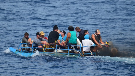 The Coast Guard found this group of Cuban migrants south of Key West, Florida, on September 13.