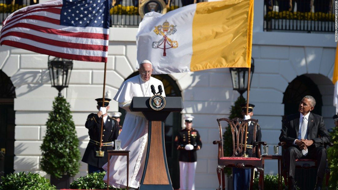 Pope Francis addresses guests on the South Lawn of the White House.