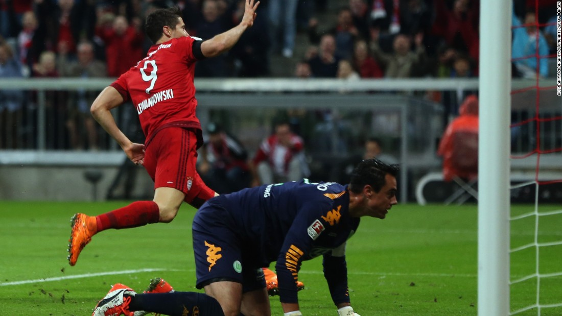 Lewandowski celebrates his fourth goal, with Wolsburg goalkeeper Diego Benaglio probably wondering just what's hit him. This goal, and the Bayern striker's fifth, which came three minutes later, were both sublime finishes.