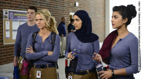 "Priyanka Chopra, right, is among a group of new recruits at the FBI's training base in ""Quantico."""