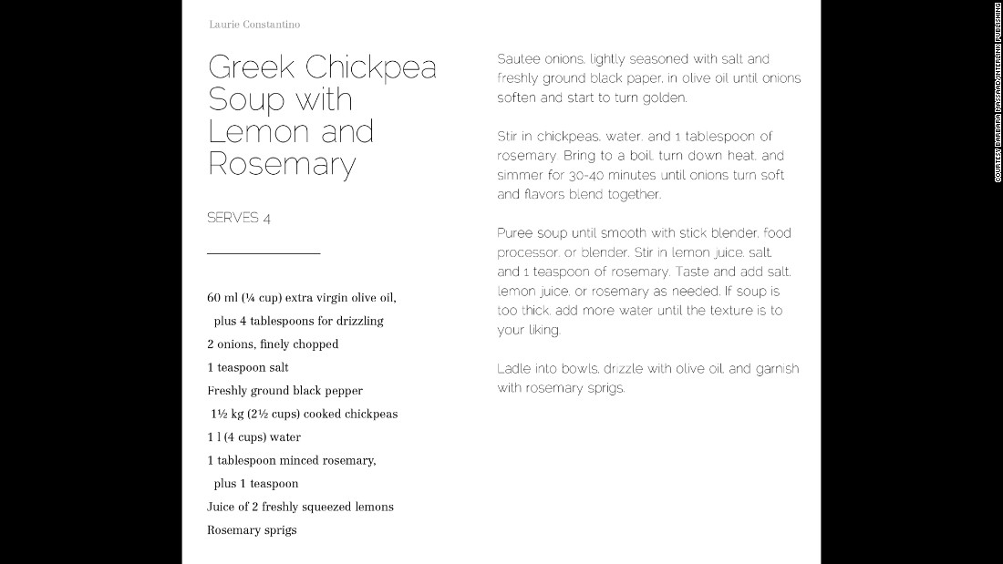 Chickpeas are a staple in the Mediterranean diet. Laurie Constantino fell in love with the Mediterranean flavor, which shows up in her Greek Chickpea Soup with Lemon and Rosemary soup.
