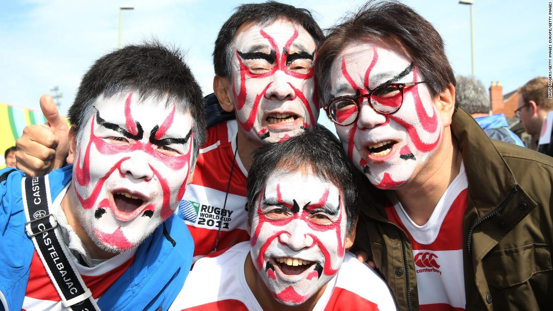 Japan fans get in the mood ahead of kick-off against Scotland at the Kingsholm Stadium.