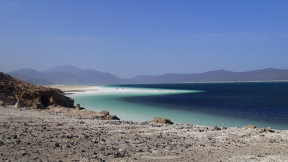 A craggy bay off the coast of Djibouti.