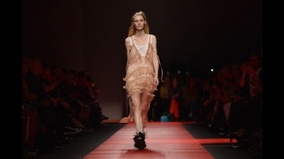 Models wore frills, tailoring, socks and sandals as they waled to George Michael