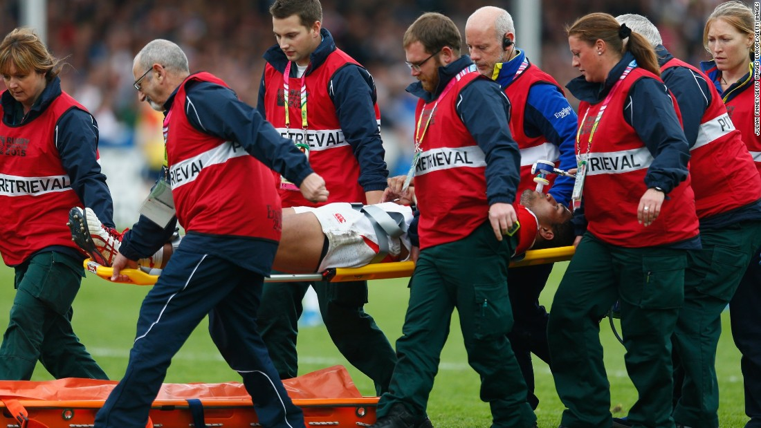 Japan try scorer Mafi was later stretched off in the second half after sustaining an injury.