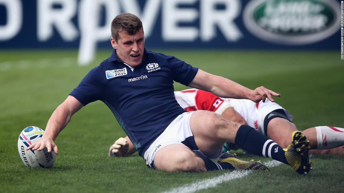 Mark Bennett touches down to score Scotland's second try, and his first of two, against Japan.