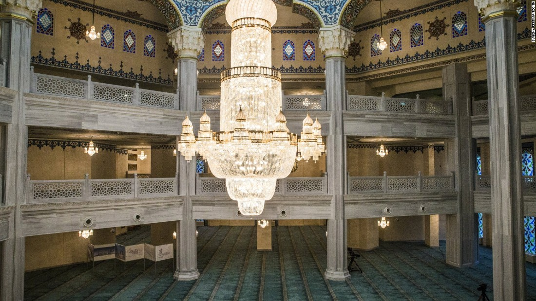 The main hall of the mosque. Moscow has 2 million Muslims and just four mosques, according to Rushan Abbyasov of the Russian Council of Muftis.