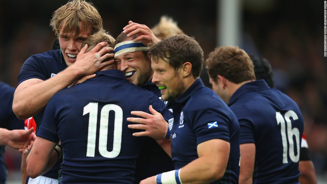 Scotland burst Japan's bubble following its famous victory over South Africa at the weekend, with Vern Cotter's men running out 45-10 winners at the Kingsholm Stadium Wednesday.