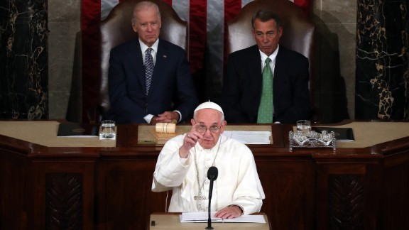 Pope Francis addresses a joint meeting of the U.S. Congress on September 24. Vice President Joe Biden and House Speaker John Boehner sit behind him in the House chamber.