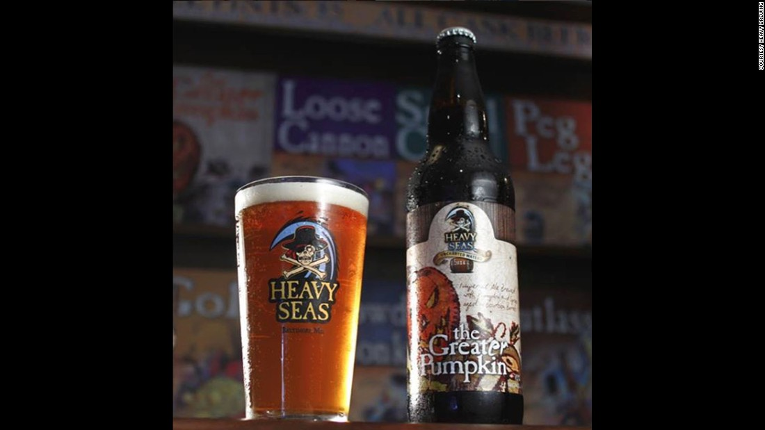 "Maryland's <strong>Heavy Seas</strong> brews <strong>The Great'er Pumpkin</strong>, a play on Charlie Brown's favorite Halloween legend. The brewery promises ""heady aromas of bourbon, cinnamon, ginger, allspice and clove."""