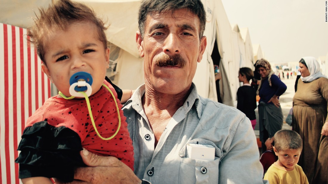 Two-year-old Basman Haidar and his grandfather Haidar Kharmish, have also spent a year in the camp. <br />