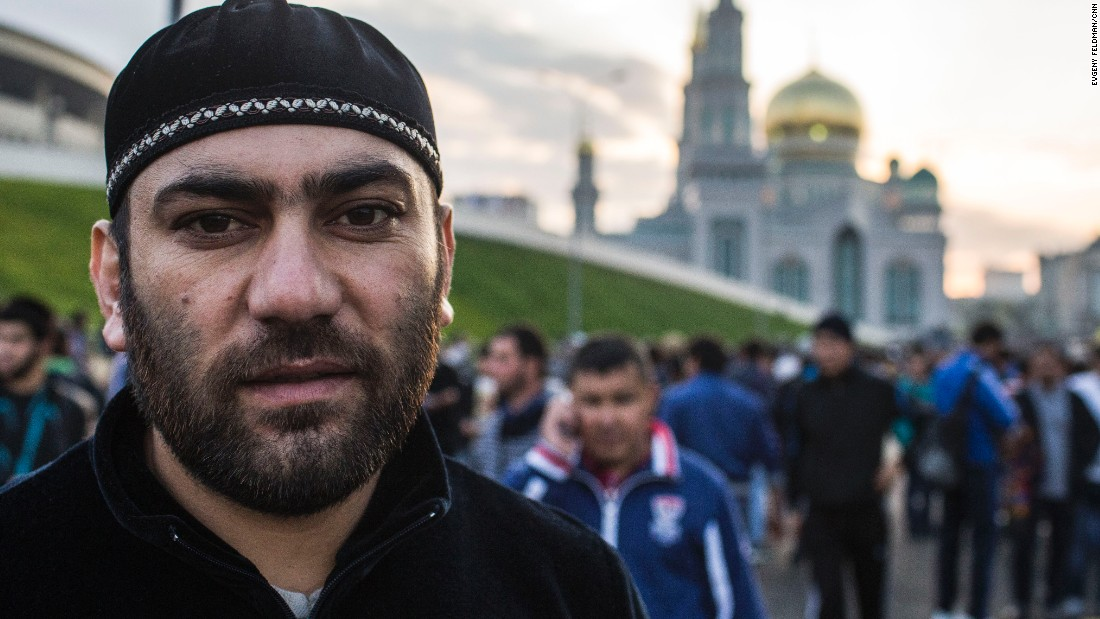 "Izet Miskhi is from Bosnia-Herzegovina and works at a construction site in Moscow. He has lived here for 25 years and says Eid al-Adha (feast of sacrifice) is ""the most important day for Muslims."""