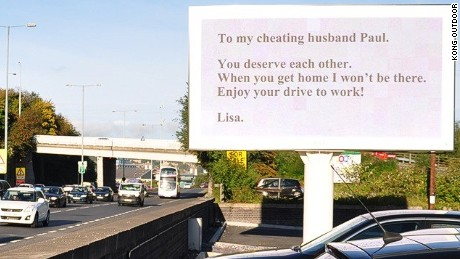The hard hitting billboard sign was positioned alongside a busy highway in Sheffield, England.