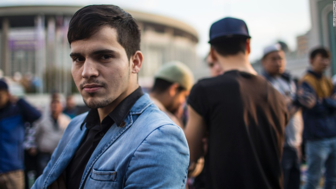 "Adkham Abduraiymov, 22, is from Uzbekistan and has lived in Moscow for two years. He says Eid al-Adha is celebrated in a different way in different places. ""It is difficult for me to explain, this religion is in our blood since our day of birth,"" he adds."